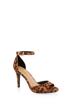 Single Band Ankle Strap High Heel Sandals - LEOPARD PRINT - 3111004066266