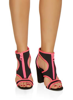 Neoprene Cut Out Block Heel Sandals - NEON PINK - 3111004066268