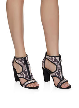 Neoprene Cut Out Block Heel Sandals - BLACK MULTI - 3111004066268