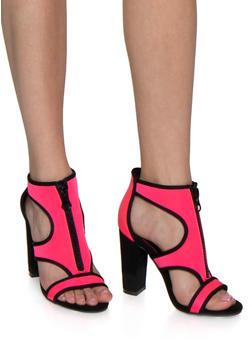 Neon Neoprene Block Heel Sandals - NEON PINK - 3111004066269