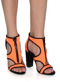 Neon Neoprene Block Heel Sandals - NEON ORANGE - 3111004066269