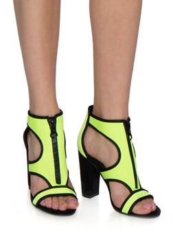 Neon Neoprene Block Heel Sandals - NEON YELLOW - 3111004066269