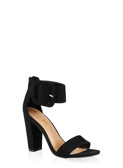 Faux Suede Ankle Strap Block Heel Sandals - BLACK SUEDE - 3111004066270