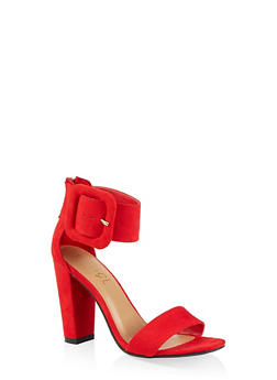 Faux Suede Ankle Strap Block Heel Sandals - RED S - 3111004066270