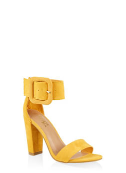Faux Suede Ankle Strap Block Heel Sandals - YELLOW S - 3111004066270