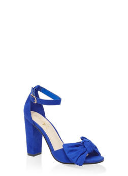 Bow High Heel Sandals - NAVY S - 3111004066272