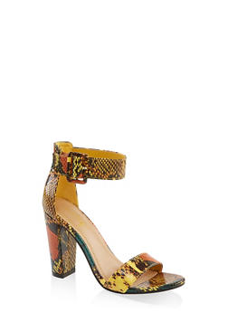 Buckle Ankle Strap High Heel Sandals | 3111004066273 - YELLOW - 3111004066273