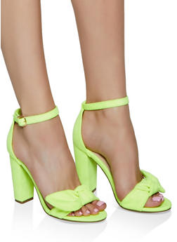 Bow Strap High Heel Sandals - NEON YELLOW - 3111004066279