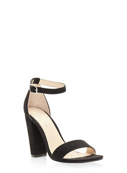 Ankle Strap High Heel Sandals - BLACK SUEDE - 3111004067268