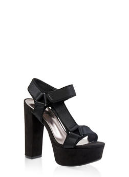 Asymmetrical Tape Strap High Heel Sandals - BLACK SUEDE - 3111004067465