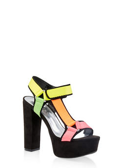Asymmetrical Tape Strap High Heel Sandals - BLACK MULTI - 3111004067465