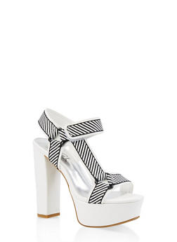 Asymmetrical Tape Strap High Heel Sandals - WHITE MULTI - 3111004067465
