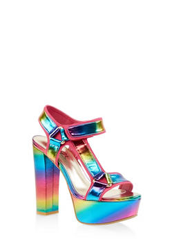 Asymmetrical Tape Strap High Heel Sandals - MULTI COLOR - 3111004067465