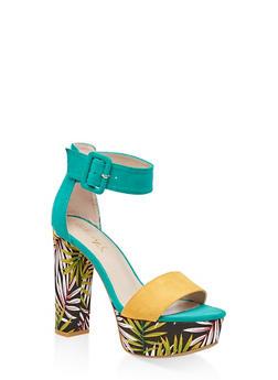 One Band Ankle Strap Platform Sandals - GREEN - 3111004067466