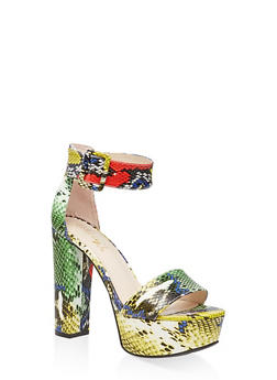 One Band Ankle Strap Platform Sandals - YELLOW - 3111004067466