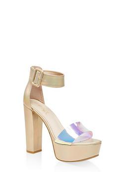 One Band Ankle Strap Platform Sandals - GOLD - 3111004067466