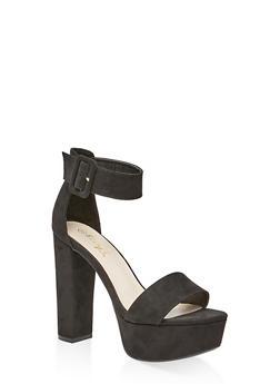 One Band Ankle Strap Platform Sandals - BLACK SUEDE - 3111004067466