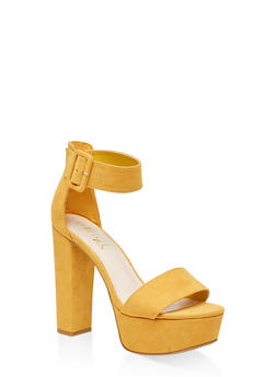 One Band Ankle Strap Platform Sandals - YELLOW S - 3111004067466