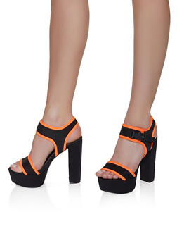 Sporty Platform Contrast Trim Block Heel Sandals - 3111004067479