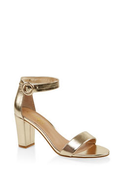 Single Band Block Heel Sandals - GOLD - 3111004067979