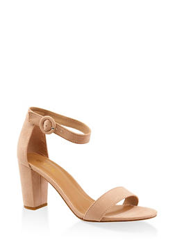 Single Band Block Heel Sandals - NUDE - 3111004067979