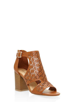 Cut Out Mid Heel Sandals - TAN - 3111004068270