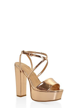 Criss Cross Strap High Heel Platform Sandals - BRONZE - 3111014062360