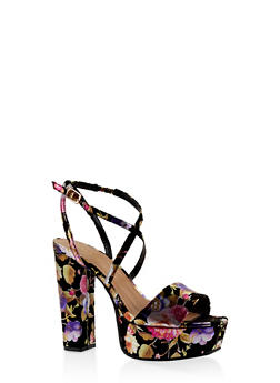 Criss Cross Strap Platform High Heel Sandals - BLACK - 3111014062361