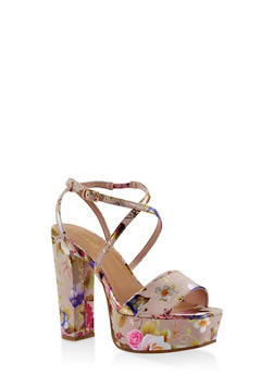 Criss Cross Strap Platform High Heel Sandals - BLUSH - 3111014062361