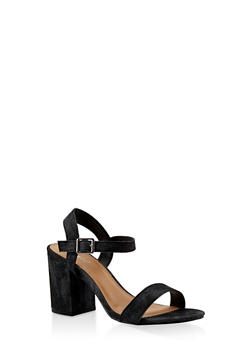 Ankle Strap Block Heel Sandals - BLACK DENIM - 3111014062771
