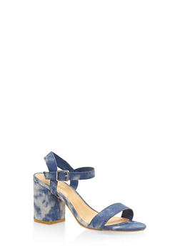 Ankle Strap Block Heel Sandals - BLUE DENIM - 3111014062771