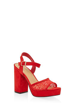 Lace Strap High Heel Platform Sandals - RED - 3111014062870