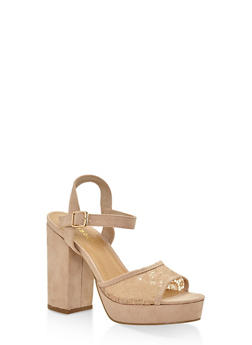 Lace Strap High Heel Platform Sandals - NUDE - 3111014062870