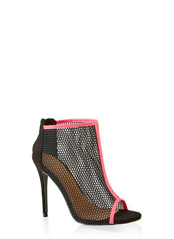 Fishnet Peep Toe High Heel Booties - 3111014063278