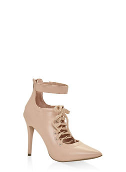 Lace Up Pointed Toe Pumps - BLUSH - 3111014063332