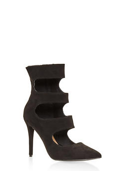 Cut Out High Heel Booties - BLACK - 3111014063334