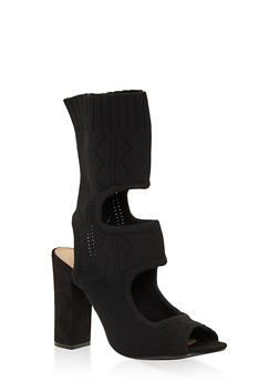 Stretch Knit Cut Out High Heel Booties - BLACK - 3111014063624
