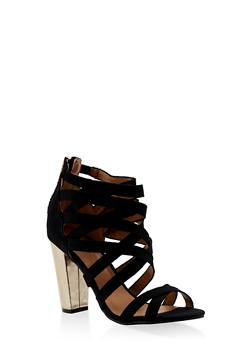 Caged High Heel Sandals - BLACK - 3111014063730