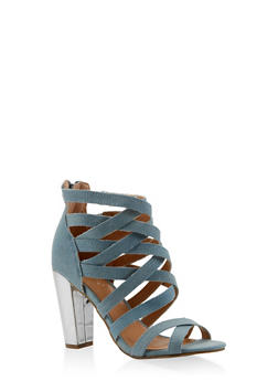 Caged High Heel Sandals - BABY BLUE - 3111014063730