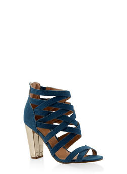 Caged High Heel Sandals - BLUE - 3111014063730