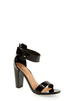 Buckle Ankle Strap High Heel Sandals - BLACK - 3111014063736