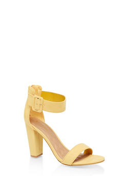 Buckle Ankle Strap High Heel Sandals - YELLOW S - 3111014063736