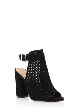 Laser Cut Block Heel Mule Sandals - BLACK - 3111014064634