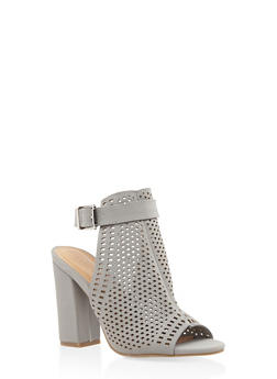 Laser Cut Block Heel Mule Sandals - GRAY - 3111014064634