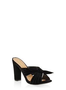 Criss Cross Bow High Heel Mules - BLACK - 3111014065462