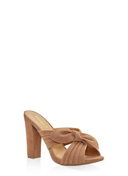 Criss Cross Bow High Heel Mules - CAMEL - 3111014065462