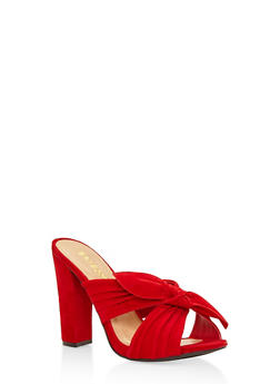 Criss Cross Bow High Heel Mules - RED - 3111014065462