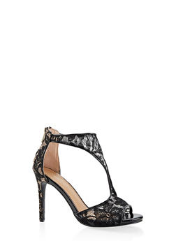 Lace T Strap High Heel Sandals - BLACK - 3111014066659