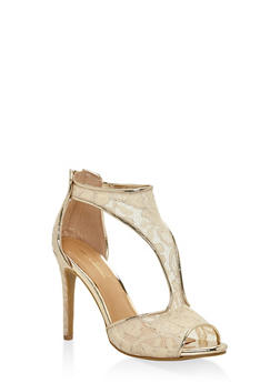 Lace T Strap High Heel Sandals - NUDE - 3111014066659