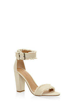 Frayed Ankle Strap High Heel Sandals - BEIGE - 3111014067267